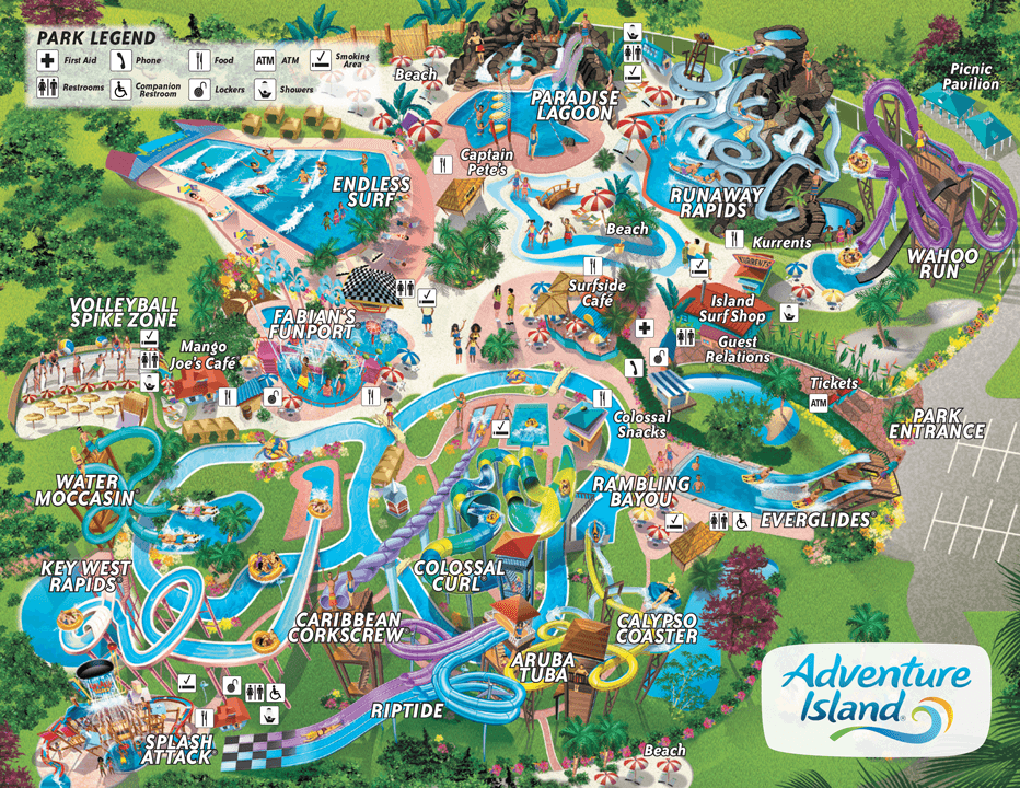 Map Adventure Island Tampa Waterpark