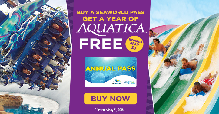 Buy SeaWorld pass and get Aquatica Free