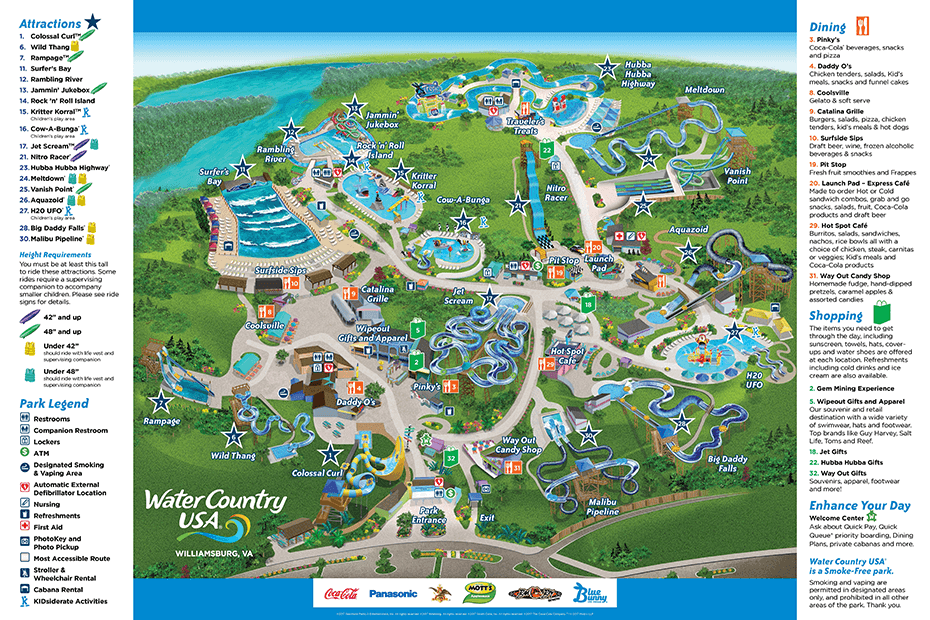 Park Map Water Country USA - Map of us wiliamburg virginia