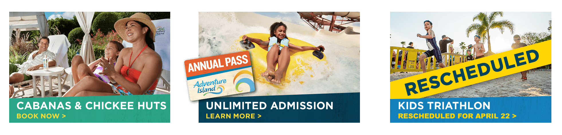Adventure Island Tampa Bay | Cabanas & Chickee Huts | Annual Pass | Kids Triathlon